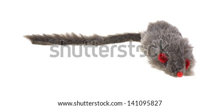A front view of a furry cat toy with a long tail.