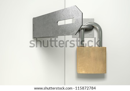A front view of a regular metal hasp open with an open brass padlock attached to one side on an isolated background