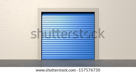 A front view of a storage room with a closed blue roller door on an isolated white wall background - stock photo