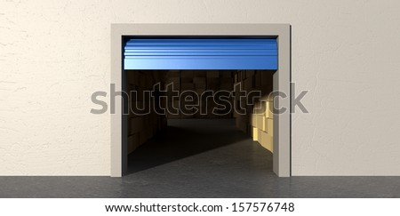 A front view of a storage room with an open blue roller door filled with stacks of cardboard boxes on an isolated white wall background - stock photo