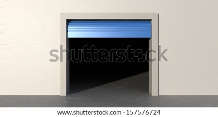 A front view of an empty storage room with an open blue roller door on an isolated white wall background - stock photo