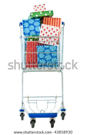 A frontal view of a shopping cart filled with gifts on a white background.