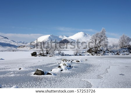 A frozen Lochan na h'Achlaise on Rannoch Moor. - stock photo