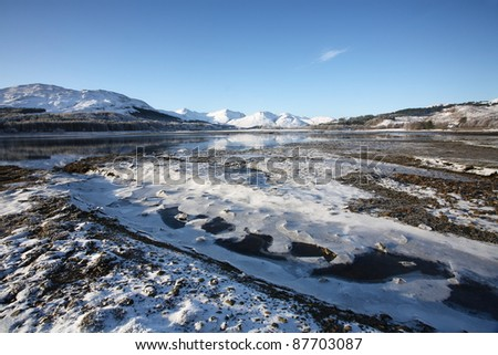 A frozen winter landscape at Loch Eil in the Scottish Highlands.