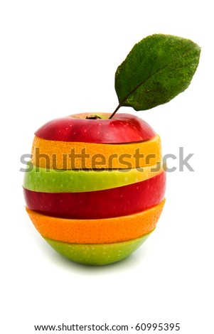 a fruit being from different fruit on a white background