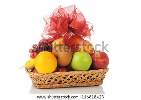 Gift basket a fruit gift basket with a bow on top negle Choice Image
