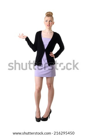 A frustrated and angry woman. Isolated on white. - stock photo