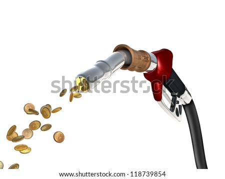 A fuel pump shoots fuel in the form of gold coins. - stock photo