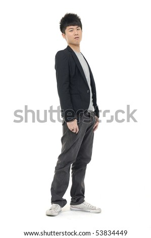 A full body view of a casual man, isolated against a white background - stock photo