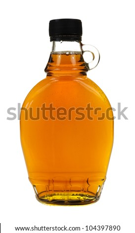 A full bottle of real maple syrup on a white background. - stock photo
