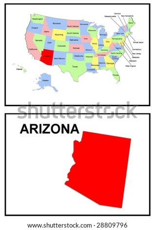 a full color map of the united states of america with the arizona