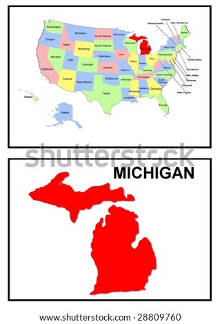 a full color map of the united states of america with the michigan