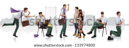 A full day in the life of a young christian man - stock photo