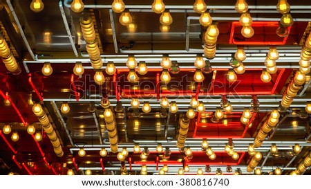 A full frame shot of neon lights and bulbs flashing on and off in Las Vegas - stock photo