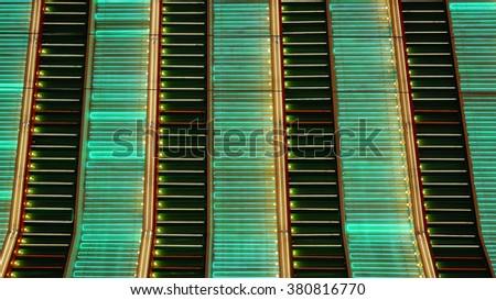 A full frame shot of neon lights flashing in Las Vegas at night - stock photo