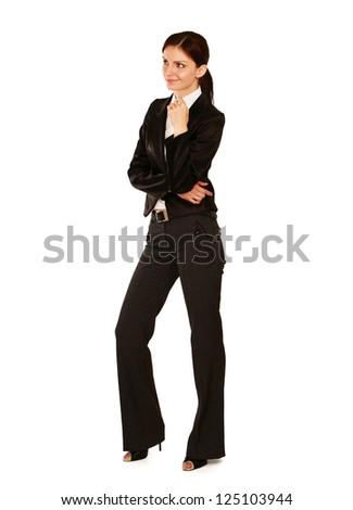 A full length portrait of a beautiful businesswoman standing, isolated on white background - stock photo