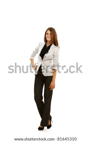 A full-length portrait of a businesswoman, isolated on white