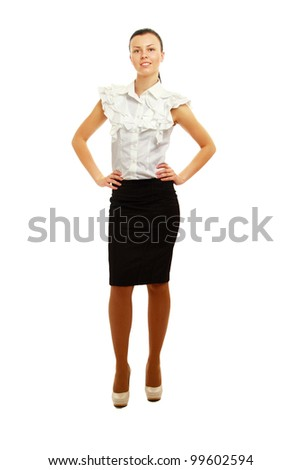 A full-length portrait of a successful businesswoman, isolated on white - stock photo