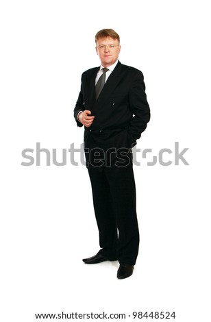 A full length portrait of businessman standing, isolated on white background - stock photo
