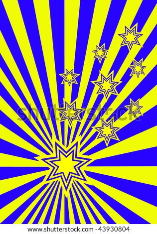 A funky stars background illustration with yellow and blue stars on a blue and yellow sunburst background