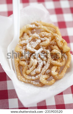 A funnel cake from a state fair.  - stock photo