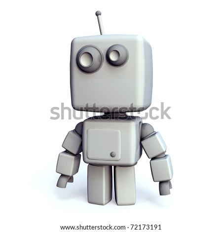 A funny and simple White 3D robot on white Background - stock photo