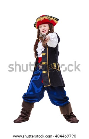 A funny boy dressed as pirate posing in the studio. Isolated on white - stock photo
