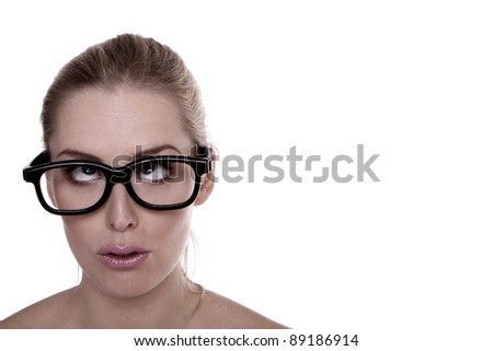 A funny faced blond woman. A funny faced blond woman wearing black spectacles.