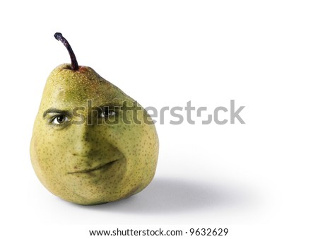 A funny fruit with face pear - stock photo