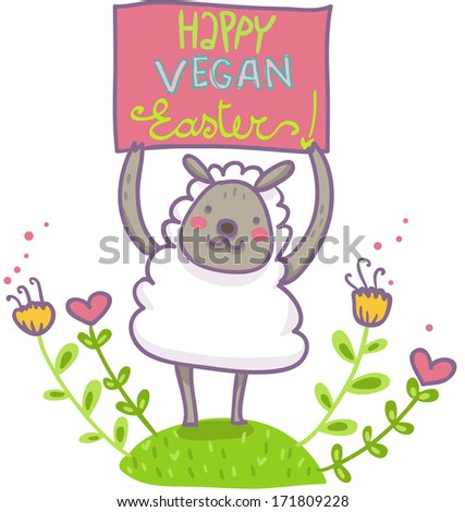 A funny greetings card for an happy vegan easter