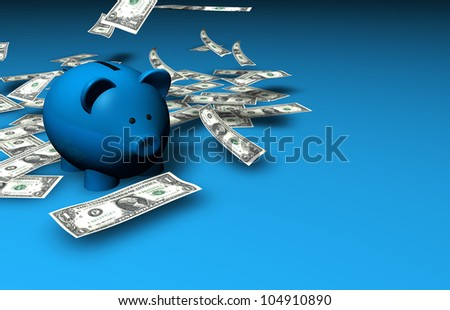 A funny piggybank with falling dollar banknotes on blue background with copyspace. - stock photo
