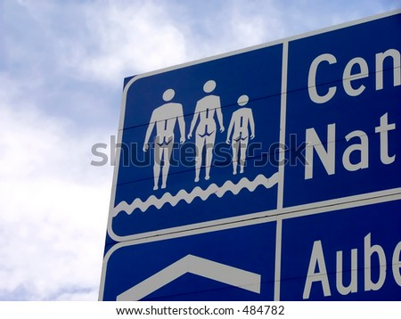 A funny road sign between Quebec city and Montreal - stock photo