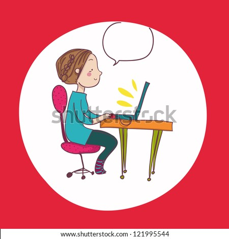 A funny smiling woman at laptop; cartoon style illustration