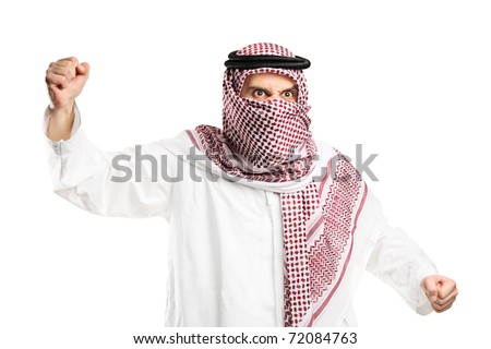 A furious arab man with covered face protesting isolated against white background - stock photo