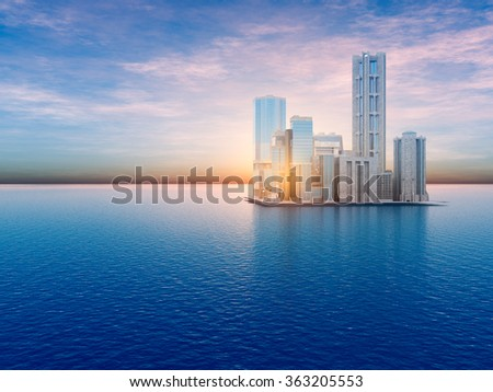 A future island city floating on the sea