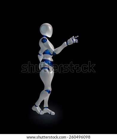 A futuristic android extending an arm - stock photo