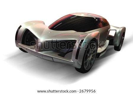 A futuristic design of a sports car (isolated in white background) - stock photo