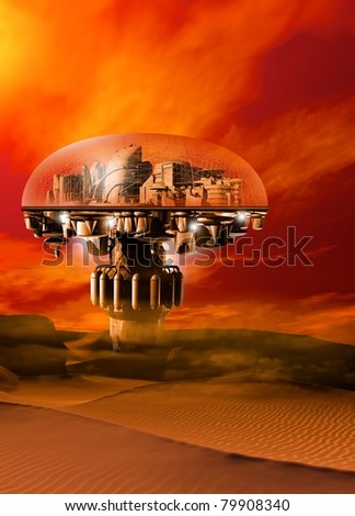 A futuristic domed city situated in a barren sand filled landscape with a bright sky. - stock photo