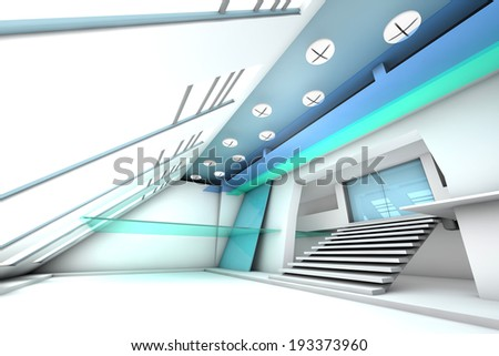 A futuristic entrance hall to a corporate building. 3D rendered Illustration. - stock photo