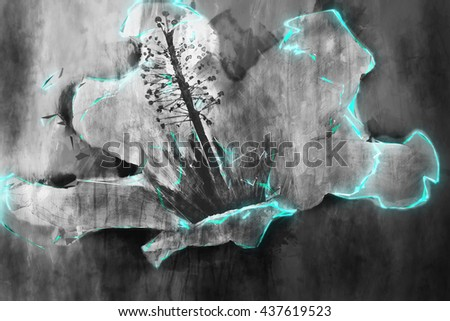 A futuristic grey flower with energetic blue highlights