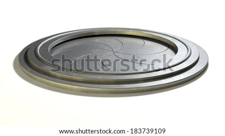 Futuristic Round Mechanical Portal Sphincter Type Stock Illustration