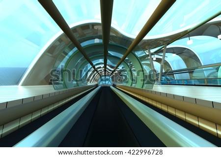 A futuristic subway or train station. 3D Illustration.  - stock photo