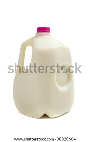a gallon jug of milk on a white background - stock photo