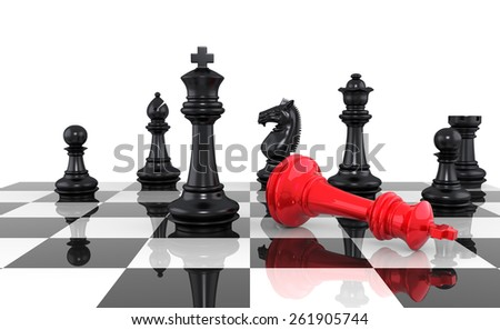 A game of chess comes to an end. The king is checkmated. Three Dimensional Rendering