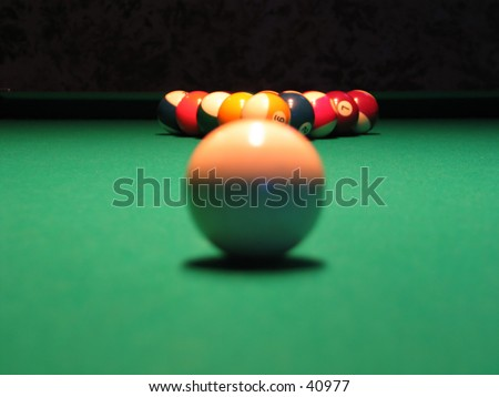 a game of pool - stock photo
