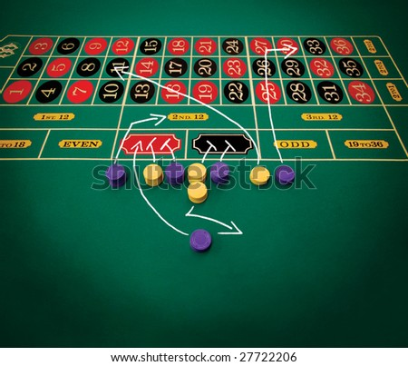 A game plan of how to win in a roulette. - stock photo