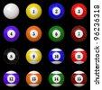 A game theme: Isolated Pool balls set - stock photo