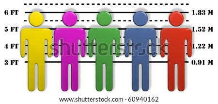 A gang of most wanted colorful 3D people lined up in a line up. - stock photo