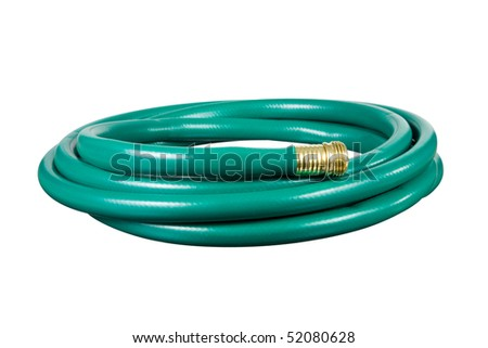 A garden hose isolated on a white background.