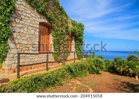 A garden of Sicilian house near the seaside in Zingaro National Park
